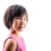 Cute Asian girl look at camera, isolated on white. — Stock Photo