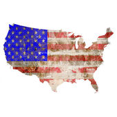 USA map with flag isolated on white. — Foto de Stock
