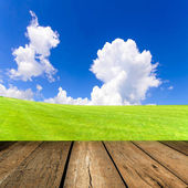 Wood floor with cloud and blue sky — Foto de Stock