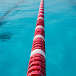 In center one platform for start and lane of swimming pool — Stock Photo #42868753