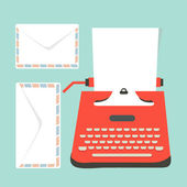 Envelopes, Mid century illustration with retro typewriter and pa — Stock Vector