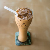 Iced coffee with copyspace composition — Stock Photo