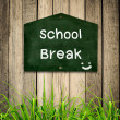 School brak message on Blackboard with green grass on wooden bac — Stock Photo