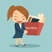 Businesswoman moving into a new office or changing jobs carrying — Stock Vector