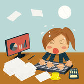 Businesswoman is Speedy Typing In Office on Desk among huge pile — Stock Vector