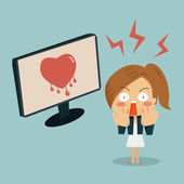 Businesswoman is shocking when she found heartbleed bug in compu — Stock Vector