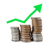 Green graph increasing on coins stack with white background — Stock Photo