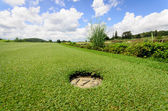 Landscape of a beautiful green golf course with sky  — Stock Photo