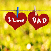 I love Dad message on Red heart shape on note paper attach to ro — Foto Stock