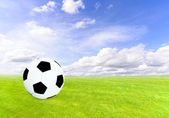 Soccer ball on  green field with blue sky — Stock Photo