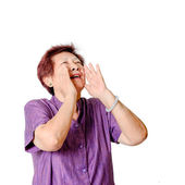 Asian senior woman shouting. — Stock Photo
