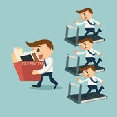 Businessmans running on treadmills for money machine — Stok Vektör