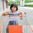 Girl with shopping cart. — Stock Photo #51232489