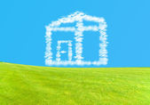Small house from clouds, Dream of home ownership — Stock Photo
