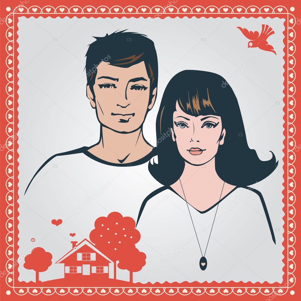 Young loving couple vector illustration — Stock Vector #14149946