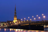 Riga at Night — Stockfoto