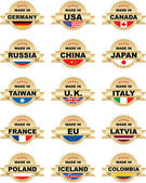 Labels Made In with different countries — Stock Vector