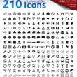 210 Icons — Stock Vector