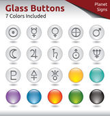 Glass Buttons - Planet Signs — Stock Vector