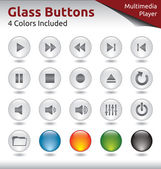 Glass Buttons - Multimedia Player — Stock Vector