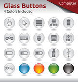 Glass Buttons - Computer — Stock Vector