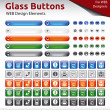 Glass Buttons - WEB Design Elements — Stock Vector