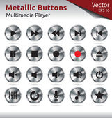 Metallic Buttons - Multimedia — Stock Vector