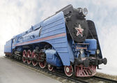 The blue express steam locomotive — Stock Photo
