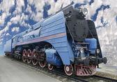 The blue express steam locomotive — Stock Photo