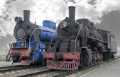 Old men-steam locomotives — Stock Photo