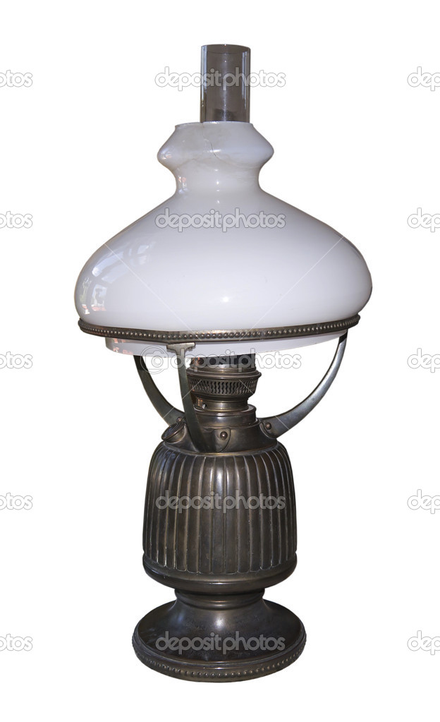 Oil lamp of 19 centuries-is isolated on the white  Stock Photo #18921793