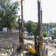 ROSTOV-ON-DON, RUSSIA-AUGUST 24 - Pile drivers clog the pile on  — Stock Photo