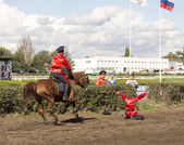 ROSTOV-ON-DON, RUSSIA-SEPTEMBER 22 - The horseman on a horse jum — Stock Photo