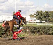 ROSTOV-ON-DON, RUSSIA-SEPTEMBER 22 - The horseman on a horse jum — Stock Photo