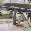 German Schmeisser submachine gun on the armor of the tank — Stock Photo #39087631
