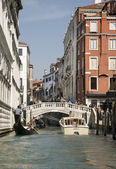 View of the streets of Venice with gondolas. Italy — Stock Photo