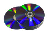 Pile of optical discs (CD, DVD or Blu-ray) isolated on white background — Stock Photo