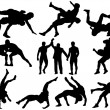 Постер, плакат: Wrestlers and referee silhouettes on white background