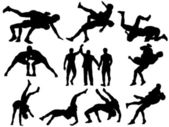 Luchadores y árbitro siluetas sobre fondo blanco — Vector de stock