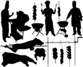 BBQ (barbecue), chef, spit, pork, beef, skewer vector silhouettes. Layered. Fully editable — Stock Vector