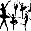 Ballet female dancers vector silhouettes on white background - Stock Vector