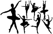 Ballet female dancers vector silhouettes on white background. Layered. Fully editable. — Stock Vector