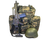Soldier equipment: automatic rifle, backpack, helmet. Isolated on white background. Clipping path. — Stock Photo