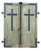 Eski ahşap pejmürde çift kapılı bir kilise 1740 yılında için — Stok fotoğraf