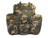 Military backpack isolated on white. Clipping path. — Stock Photo