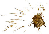 Coffee or mud splash isolated on white background. Clipping path. — Stock Photo