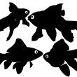 Goldfish vector silhouettes on white background. Layered. Fully editable — Stock Vector