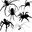 Spider vector silhouettes. Layered. Fully editable. — Stock Vector #13882126