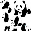 Panda babies vector silhouettes. Layered. Fully editable. — Stock Vector