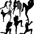 Muay Thai (Thai Boxing) vector silhouettes — Stock Vector #14354619